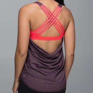 Lululemon Wild Tank with Built In Bra in Heathered Black Cherry & Coral size 4